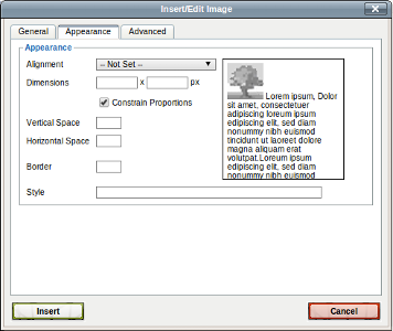 Images can be resized and style set from the page authoring user interface. All images can be compressed on the server side (reducing the size of the image downloaded to the client) by using the standard FORMAT URL parameter. The image will be converted on the server side and cached for performance reasons.