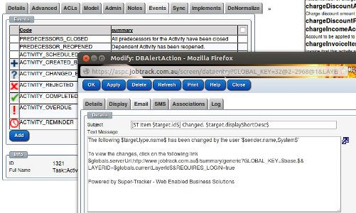 Events and actions can be defined on any class in the system including Articles and Pages.