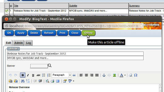 Articles can be published, publish scheduled or offline. Pages can be online, offline or hidden