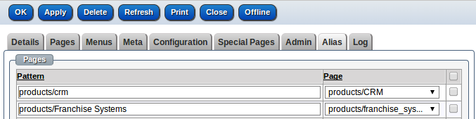 Pages can have any number of aliases. When a page's path is renamed the system will automatically add an alias from the page's previous path to the current page. This prevents 404 errorswhich are a well known cause of user frustrationand lower SEO rankings. When a user requests a URL first a matching page is searched then the page aliases are searched, if a matching page alias is found then that page is used. There areNO 301/302 errors returned there isjust many paths to the same page.