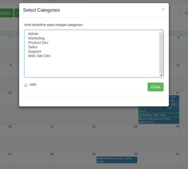 Categories filter