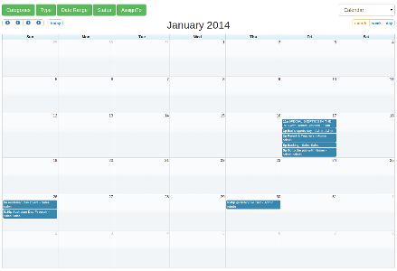 The new Calendar is a full-sized, drag & drop calendar. It uses AJAX to fetch events on-the-fly for each month/week/day. Select from the filters to change the date range and items displayed according to type, category, status and assign to. Items are tasks, events, sales opportunities or jobs which have been entered and scheduled to a day and time. You'll see items in the calendar. Click on the item to see the details of the item. You can switch between the calendar and timeline view any time. We...