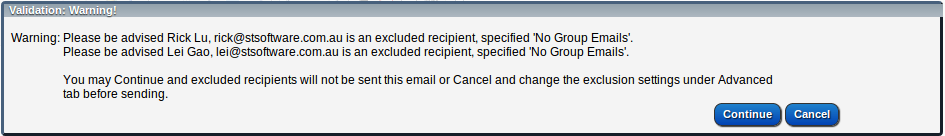 Email Warning some recipients are excluded